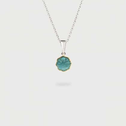Doublet Crystal Quartz with Aquamarine on 14K Gold and Silver 925 Pendant-AlmaDiPietra