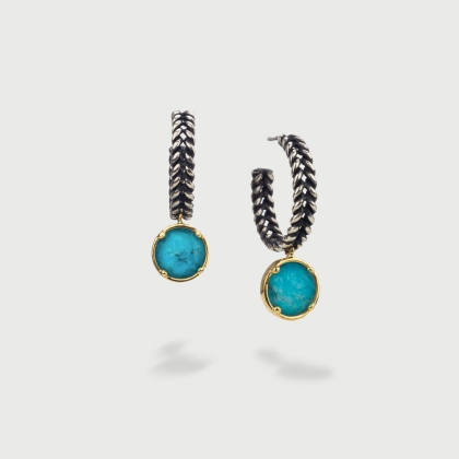 Doublet Crystal Quartz with Turquoise Hoop Silver Earrings-AlmaDiPietra