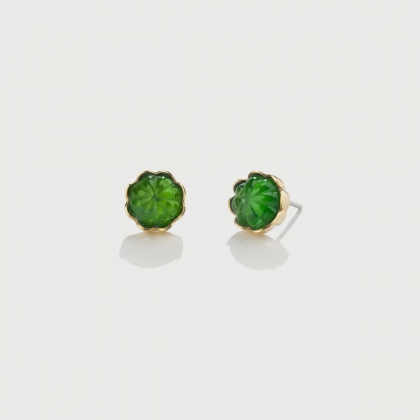 Doublet Crystal Quartz with Dioptase on 14K Yellow Gold and Silver 925 Stud Earrings-AlmaDiPietra