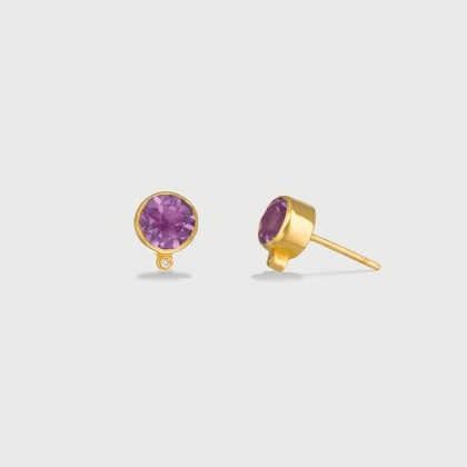 ​Amethyst and Diamond Stud Earrings in 14K Yellow Gold-AlmaDiPietra