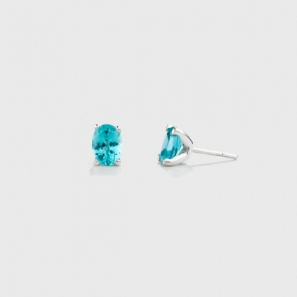 ​Apatite  Stud Earrings in 14K White Gold-AlmaDiPietra