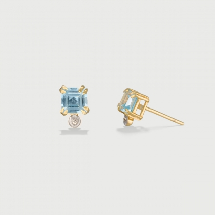 ​Sky Blue Topaz and Diamond Stud Earrings in 14K Yellow Gold-AlmaDiPietra