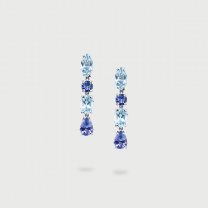 Tanzanite and Blue Topaz Riviera Earrings in 18K White Gold-AlmaDiPietra