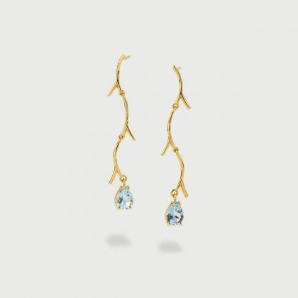 Sky Blue Topaz on Branch Shape Dangling Drop Earrings in 14K Yellow Gold-AlmaDiPietra