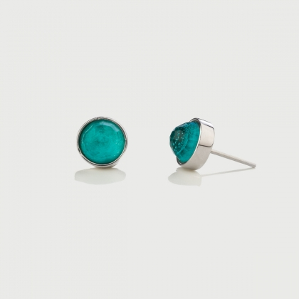 ​Doublet Crystal Quartz with Amazonite platinum Plated​ Silver Stud Earrings-AlmaDiPietra