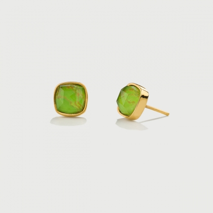 ​Doublet Crystal Quartz with Green Copper Gold Plated Silver Stud Earrings-AlmaDiPietra