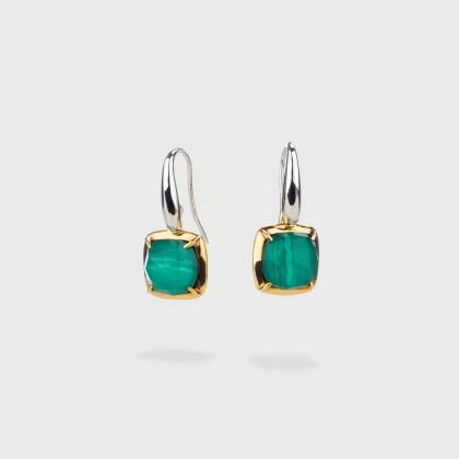 Doublet Crystal Quartz with Malachite Gold Plated Silver Drop Earrings-AlmaDiPietra