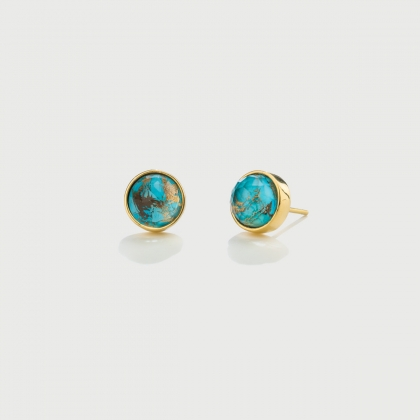 ​Doublet Crystal Quartz with Turquoise Copper Gold Plated Silver Stud Earrings​-AlmaDiPietra