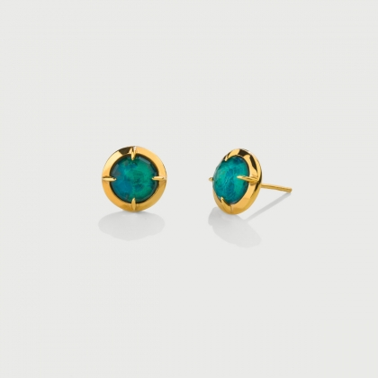 Doublet Crystal Quartz with Chrysocolla Gold Plated Silver Stud Earrings-AlmaDiPietra