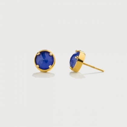 ​Doublet Crystal Quartz with Blue Agate Gold Plated Silver Stud Earrings-AlmaDiPietra