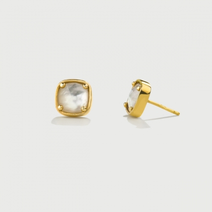 ​Doublet Crystal Quartz with Mother of Pearl Gold Plated​ Silver Stud Earrings-AlmaDiPietra