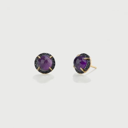 Doublet Crystal Quartz with Amethyst and black Zircons Gold Plated Silver Stud Earrings-AlmaDiPietra