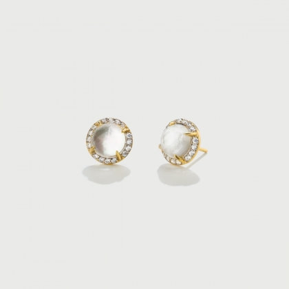 Doublet Crystal Quartz with Mother of Pearl and White Zircons Silver Stud Earrings-AlmaDiPietra