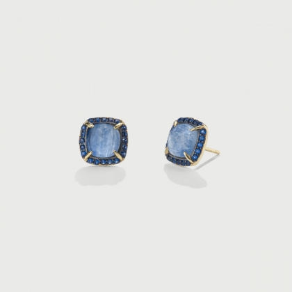 Doublet Crystal Quartz with Kyanite and blue Zircons Gold Plated Stud Earrings-AlmaDiPietra