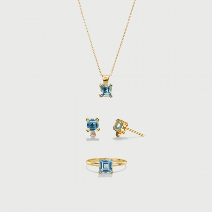 Sky Blue Topaz Set of solitaire ring, stud earrings and dainty pendant in 14K Gold​-AlmaDiPietra