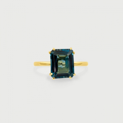 Blue Topaz London in 14K Gold Engagement Solitaire Promise Ring-AlmadiPietra