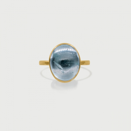 Natural Aquamarine Statement Ring in 14K Yellow Gold-AlmadiPietra