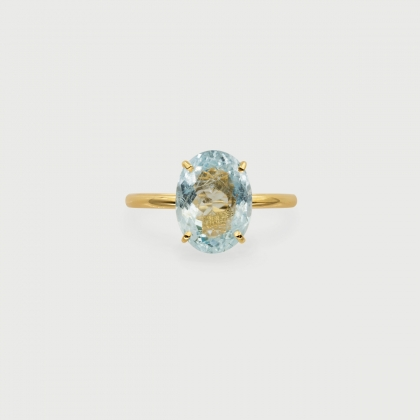 Natural Aquamarine 14K Yellow Gold Ring, Solitaire Engagement Ring-AlmadiPietra