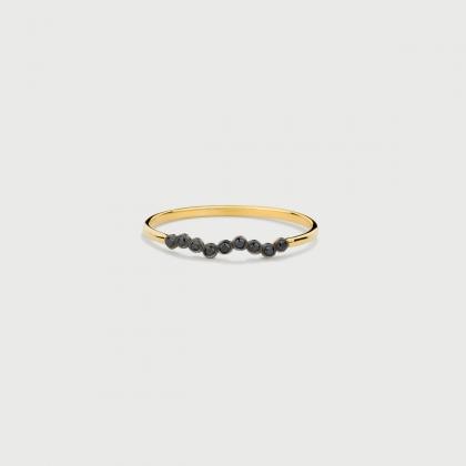 Black Diamonds Stackable Ring in 14K Yellow Gold-AlmadiPietra