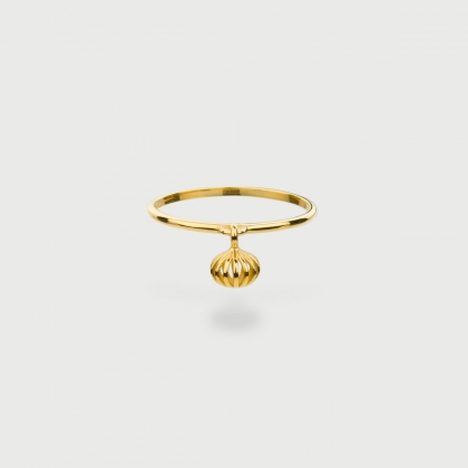 """""""Gravity S"""" 14K Gold Ring of """"Linned Drops"""" Collection-AlmadiPietra"""