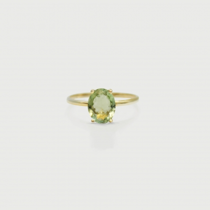 Green Tourmaline Ring in 14K Yellow Gold-AlmadiPietra