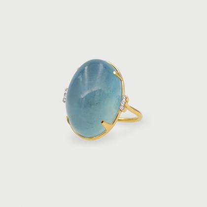 Natural Cabochon Aquamarine with Diamonds Statement Ring in 18K Yellow Gold-AlmadiPietra