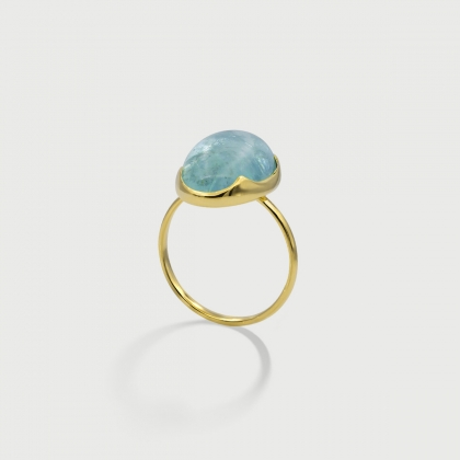 Natural Cabochon Aquamarine 18K Yellow Gold Statement Ring-AlmadiPietra