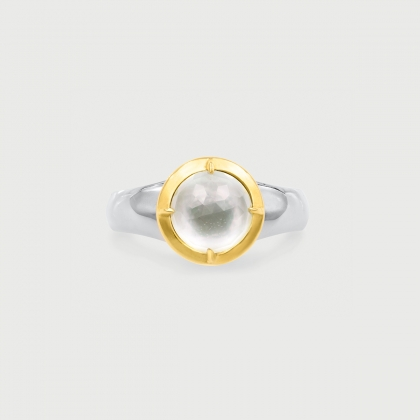 Doublet Crystal Quartz with Mother of Pearl Gold Plated​ Silver Ring-AlmadiPietra