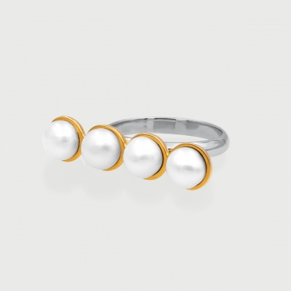 White Freshwater Pearls in Gold Plated Silver Ring-AlmadiPietra