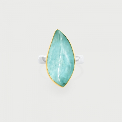 Doublet Crystal Quartz with Aquamarine Leaf Shaped Ring in 14K Gold and Silve-AlmadiPietra