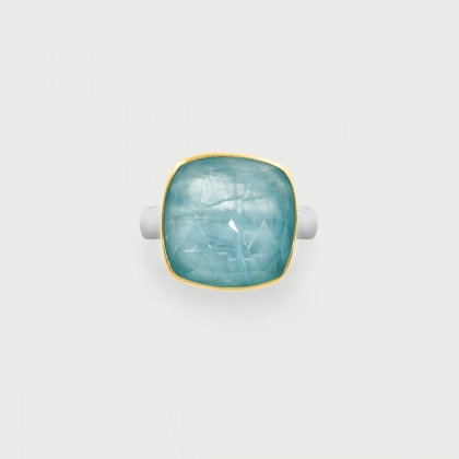Doublet Crystal Quartz with Aquamarine Ring in 14K Gold and Silver-AlmadiPietra