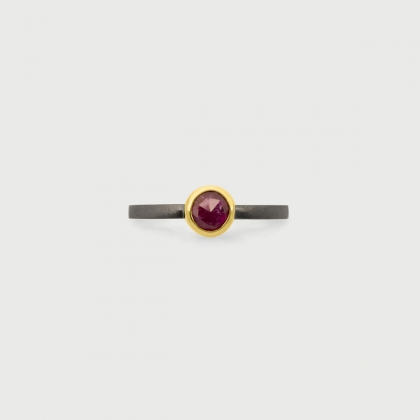 Ruby in 14K Gold bezel and Black Rhodium plated and Matt finished 925 Silver Square shank-AlmadiPietra