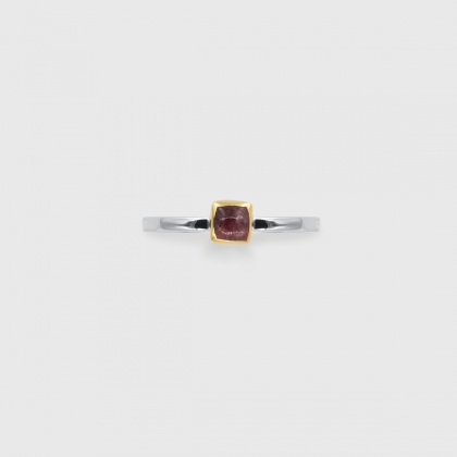 Pink Tourmaline in 14K Gold bezel and white rhodium plated 925 Silver Square band Ring, Unique Solitaire Ring, Gold and Silver Ring, Two-Tone Ring-AlmadiPietra