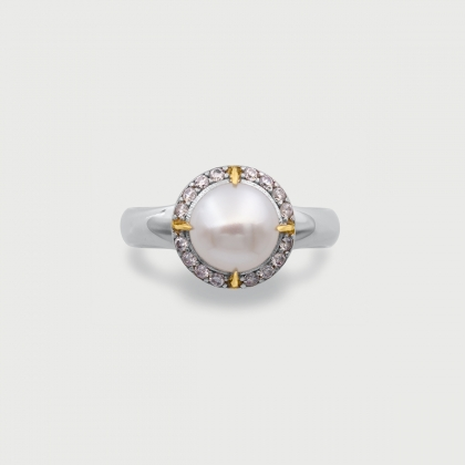 White Freshwater Pearl with White Zircons Gold Plated Silver Ring-AlmadiPietra