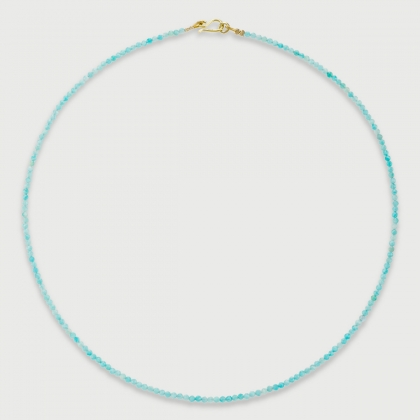 Natural Amazonite strand bead necklace in 14K Yellow Gold