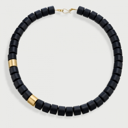 Statement Onyx Necklace with 14K Yellow Gold Elements-AlmaDiPietra