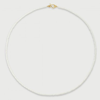 White Freshwater Pearls strand bead necklace in 14K Yellow Gold-AlmaDiPietra