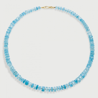 Rough Aquamarine Strand Bead Necklace in 14K Yellow Gold-AlmaDiPietra