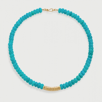 Amazonite Fleur De Lis Adornment​ Necklace​ in 14K Yellow Gold-AlmaDiPietra