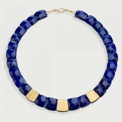 Lapis Lazuli Necklace in 18K Yellow Gold, Elegant Necklace, Rose Cut Lapis Lazuli-AlmaDiPietra