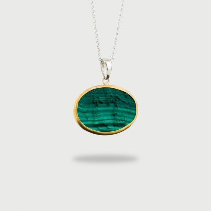 Ancient Greek Carved Malachite in 22K Gold and Silver Pendant with Two Women-AlmadiPietra