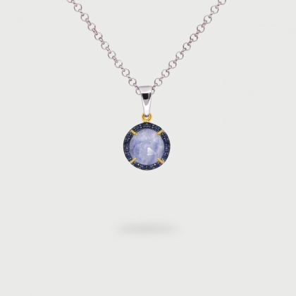 Kyanite Doublet with Blue Zircon Gemstones Pendant in Gold plated Silver-AlmadiPietra