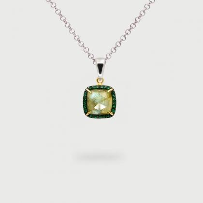 Labradorite Doublet with green Zircon Gemstones Pendant in Gold plated Silver-AlmadiPietra