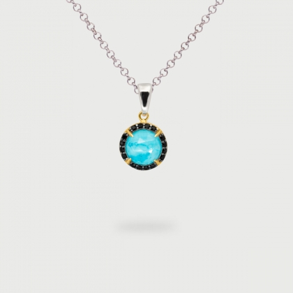 Turquoise Doublet with black Zircon Gemstones Pendant in Gold plated Silver-AlmadiPietra