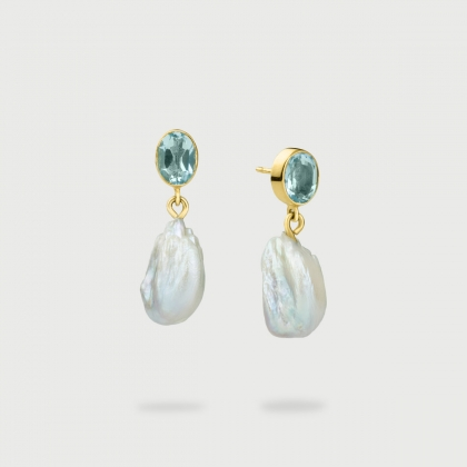 Freshwater Baroque Pearls with Blue Topaz Earrings in 14K Yellow Gold-AlmadiPietra