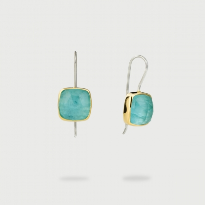 Aquamarine Doublet Drop Earrings in Gold 14K and Silver-AlmadiPietra