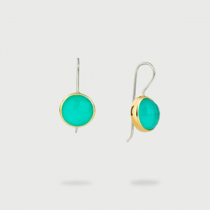 Aquaprase Doublet Drop Earrings in Gold 14K and Silver-AlmadiPietra