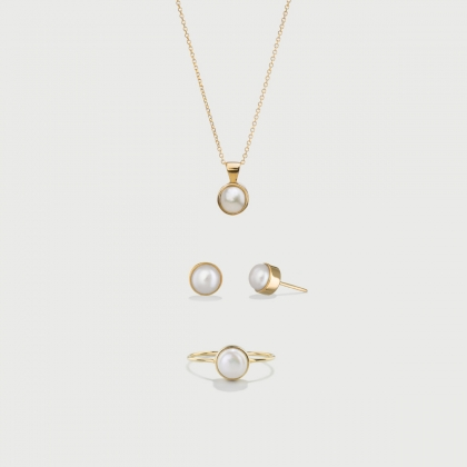 Freshwater White Pearl Set  in 14K Gold-AlmadiPietra