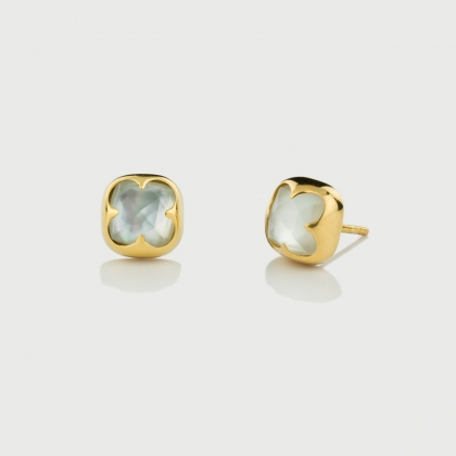Mother of Pearl Doublet Stud Earrings in Gold Plated Silver -AlmadiPietra