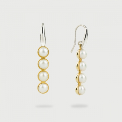 White Freshwater Pearls in Gold Plated Silver Drop Earrings-AlmadiPietra